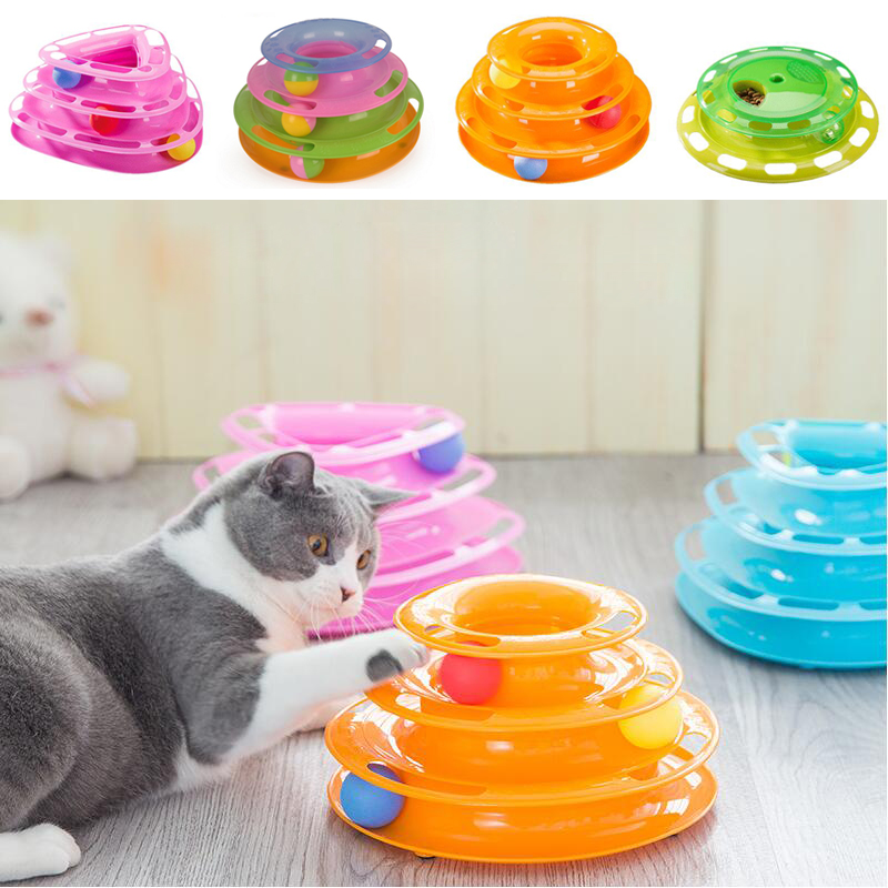 New Funny Pet Cat Toys Tower of Tracks Three Levels Balls Kitty Play Crazy Game