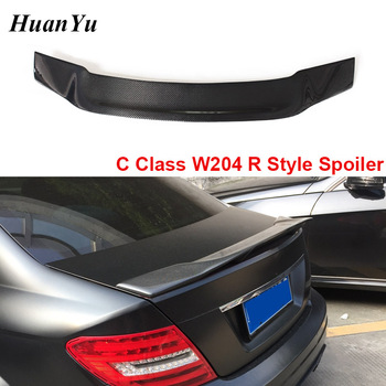for Mercedes-benz W204 R Style Trunk Spoiler C Class Carbon Fiber Ducktail Lip Wings C180 C200 C260 C300 2008-2014 4-door&2-door