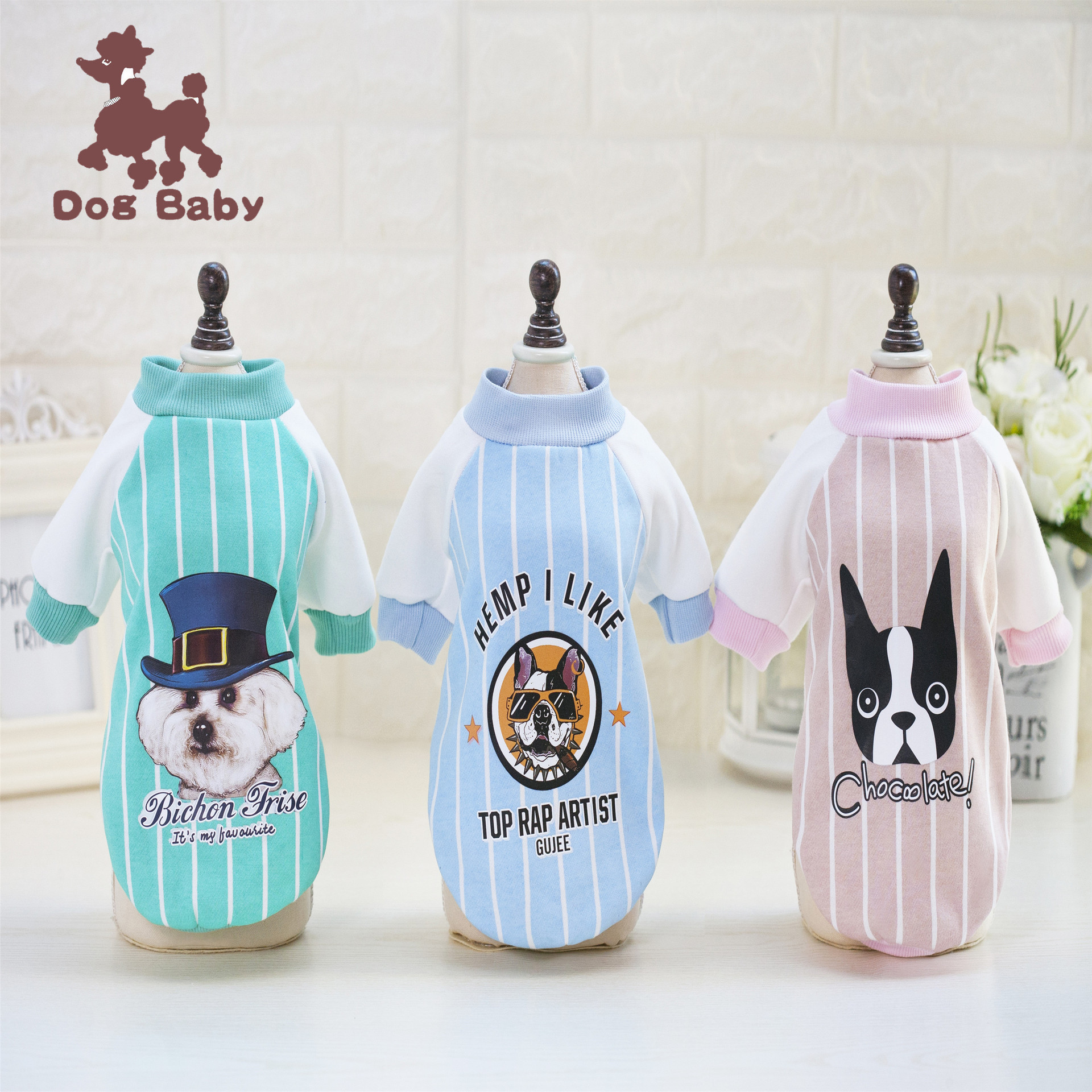 Free shipping Pet dog clothes new spot wholesale factory direct explosion section autumn baseball shirt clothes for bulldogs