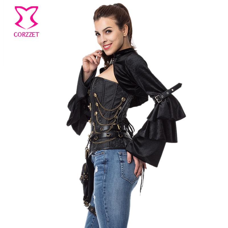Mëngë të gjata me fanellë të zezë fanellë me xhaketë rrip - Veshje për femra - Foto 4