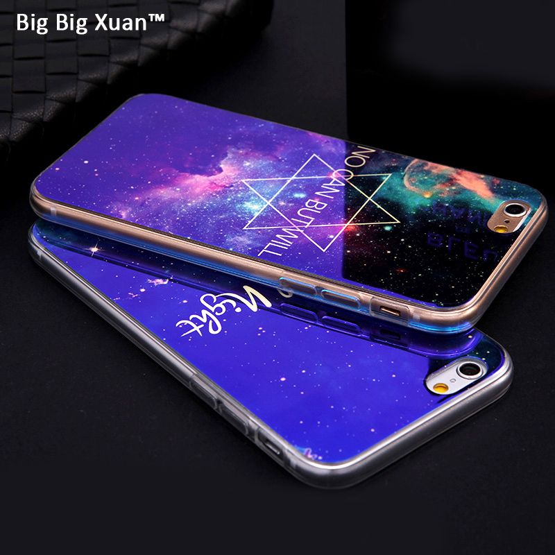 """For iPhone 6 6s 4.7"""" Silicon Phone Cases Transparent Clear TPU Back Cover Fashion Laser <font><b>Blue</b></font> light <font><b>City</b></font> Street Painted <font><b>Blu-ray</b></font>"""