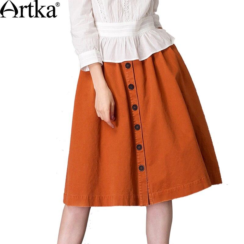 Artka Women's 2018 Summer Solid Color Cotton All-match Skirt Vintage Empire Waist Knee-Length Wide Hem A-Line Skirt QA10579C solid color empire waist mermaid skirt