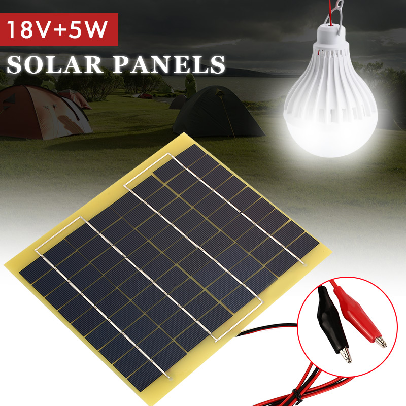 5W 18V Polycrystalline Silicon Solar Panel Durable Phone Charger Solar Light Emergency Power Supply