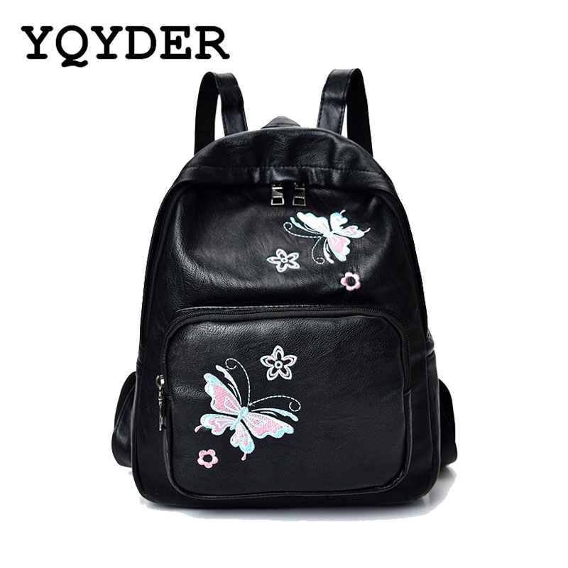 Embroidery Butterfly Women Backpack PU Leather School Bags for Girls Fashion Brand Animal Shoulder Bag Lady Bagpacks Sac A Main women pu leather backpack mansur lady leather backpack girl leather school bag free shipping fashion girls bag