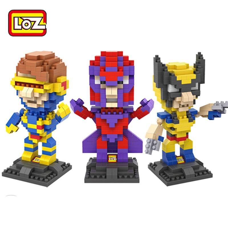 Mini Block LOZ Action Figures Superhero Cyclops Wolverine Magnetic King Byggblock Diy Modell Educational Baby Toy Gift 9458