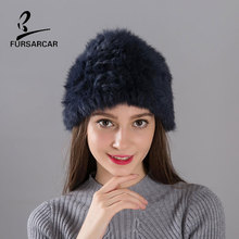FARSARCA RRabbit Fur Hat Handworks Knitted Womens Winter 12 Colors Free Size For All Female Real Rabbit BF-M0029