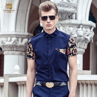 Free Shipping New Fashion Casual Male Men S Summer Korean Business Short Sleeve Industry Occupation Blue