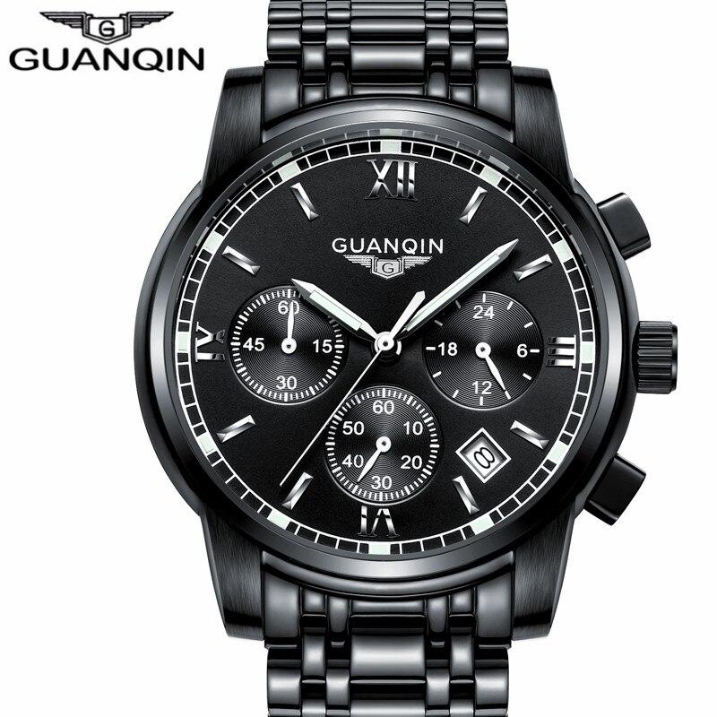 GUANQIN Luxury Brand Men's Quartz Watch Business Watch Men's Watches Stainless Steel Simulation Display Date Waterproof Watches