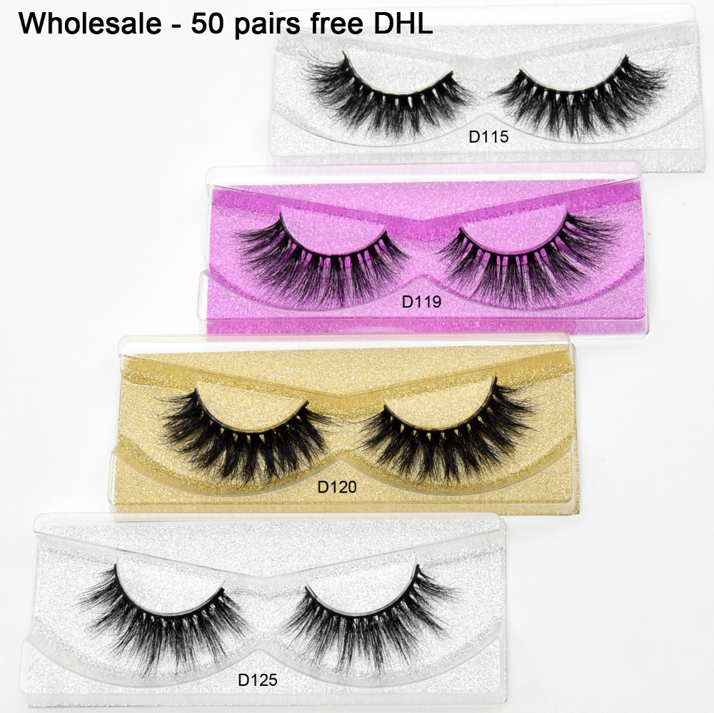 Free DHL 50 pairs 3D Real Mink Lashes Wholesale High Quanlity Handmade Mink Eyelashes Glitter Packaging