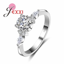 JEXXI Luxury White Cubic Zirconia Crystal Women Girl Ring 925 Sterling Silver Finger Rings Fashion Jewelry Wholesale