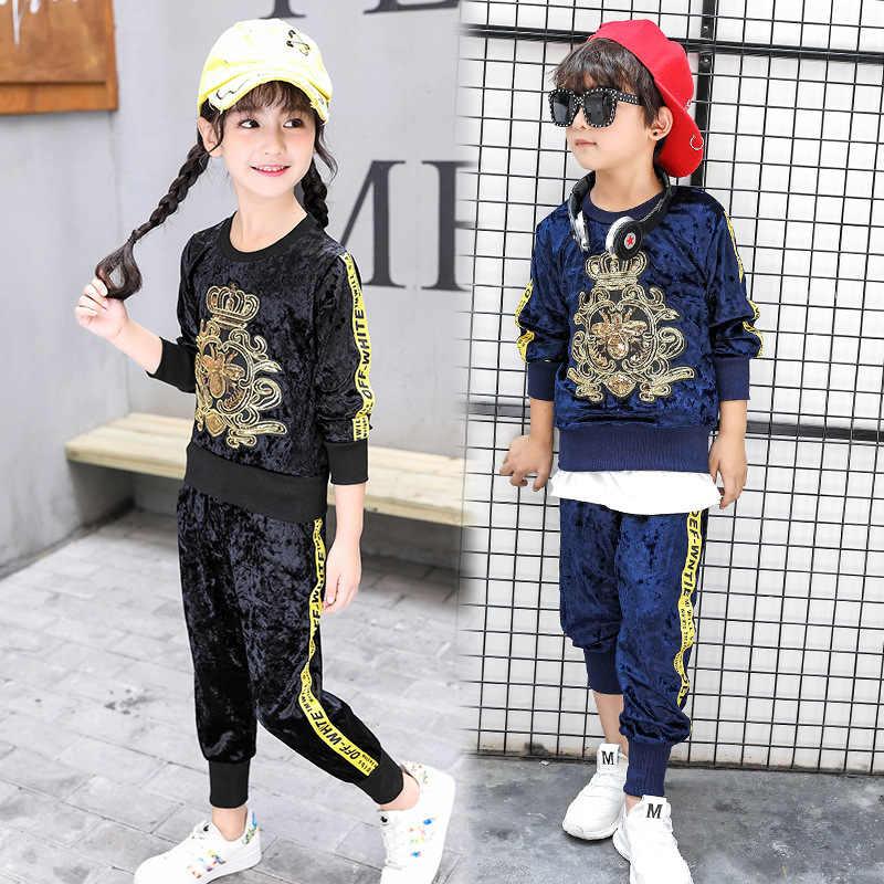 Новинка 2018 года, детская спортивная одежда с вышивкой для мальчиков и  девочек, бархатная куртка 13327d4f4e0