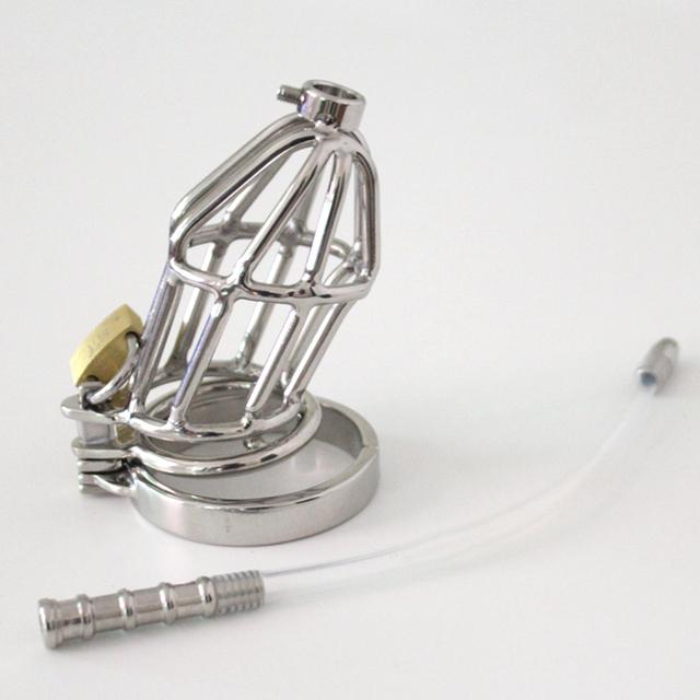 Nuevo Doble Anillo de Pene Male Chastity Device Tubo Uretral sonda con Púas Anti-Vertimiento Cockring de Silicona Artesanía Castidad Jaula