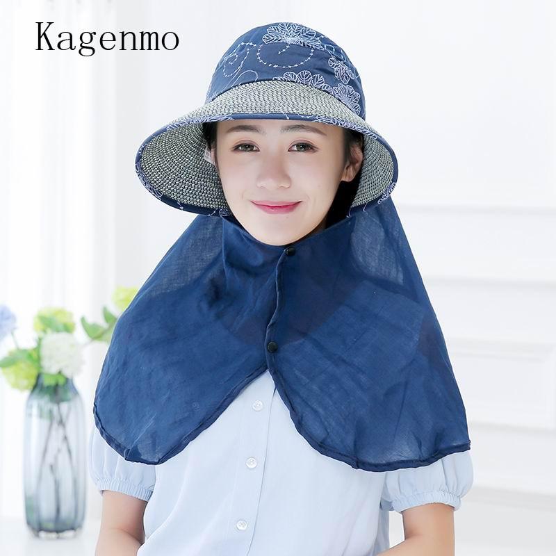 Kagenmo slaměný sluneční klobouk ženy opalovací krém Cause Hat Fold 2 použití letní klobouk venkovní volný stín odstín slaměná čepice ochrana krku