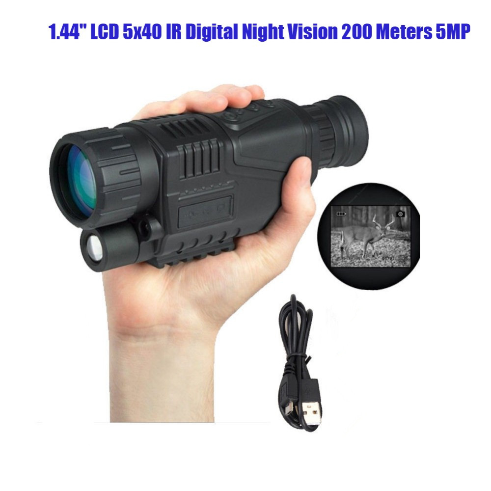 IR Digital Night Vision Scope Infrared Monocular Recording Telescope 5X 5MP Digital Camera Take Video Photo or Picture 29-0003 dhl shipping infrared digital night vision monocular scope 5x40 for 200meter zoom 5x ir 5mp digital camera video in ccd
