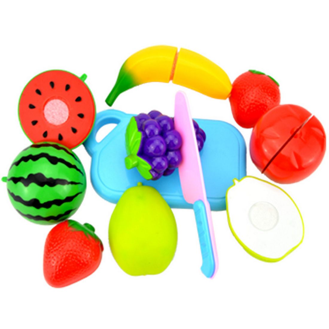 8Pcs/Set Plastic Fruit Cutting Toy Early Development and Education Toy for Baby - Color Random