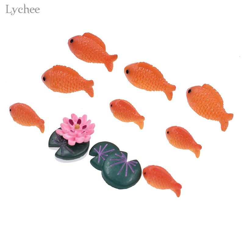 Lychee Leben Dekorative Rot Fisch Miniatur Mini Micro Landschaft Ornamente Harz Figuren Home Dekoration