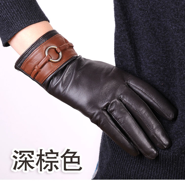 Quality snow leopard gloves women's full leather hasp suede gloves repair presentation genuine leather gloves