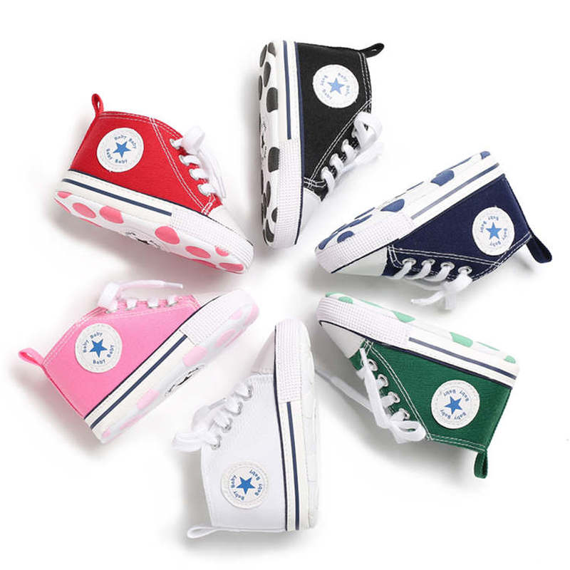 Unisex Baby Shoes Boys Girls Star Solid High Top Sneaker Cotton Soft Anti-Slip Sole Newborn Infant First Walkers Toddler Canvas(China)
