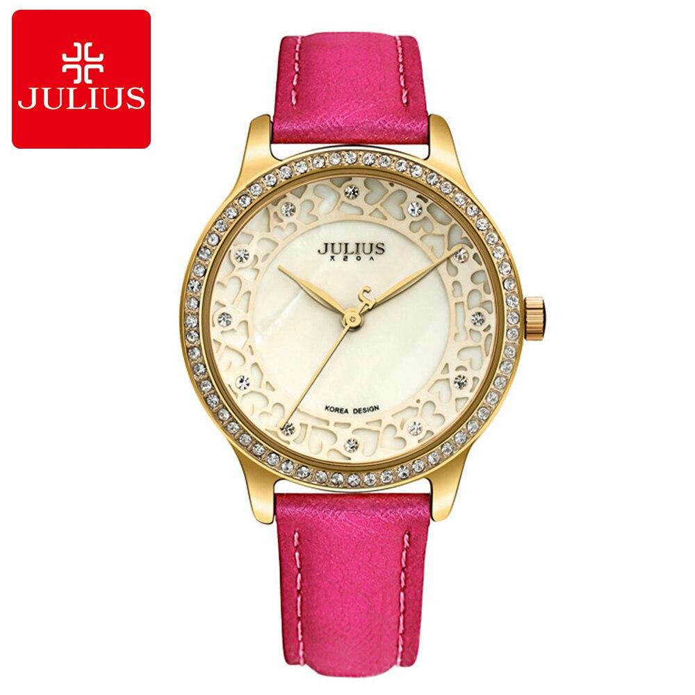 Strass de luxe pierre amour coeur dame meilleure montre-bracelet de charme femmes offre spéciale étanche boucle en cuir célèbre Julius montres