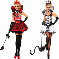 2018 new Deluxe Black/White Queen Of Black Hearts Dress Gothic Party Fancy Uniform Cosplay clothing Halloween Costumes For Women