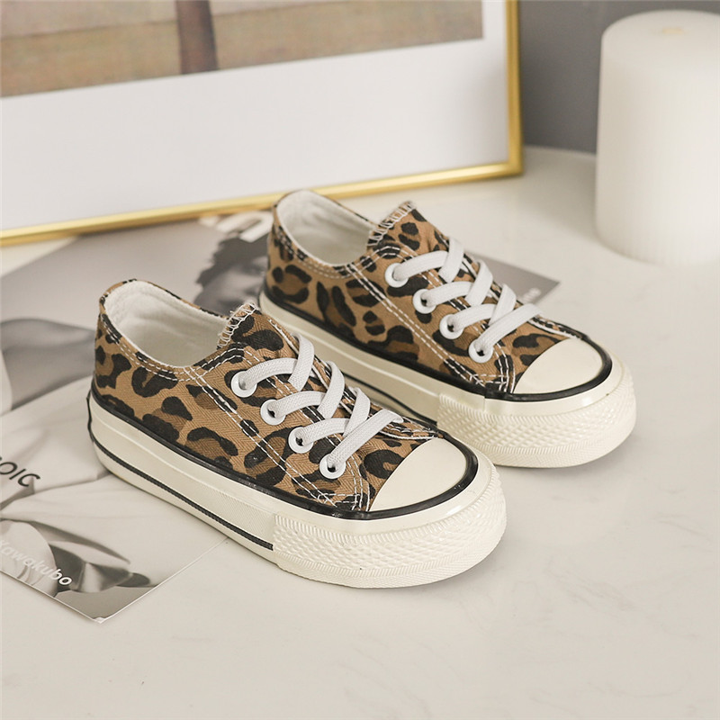 Kids Canvas Shoes Girl Children Shoes Boys Sneakers Students Classic Leopard One-legged Loafers Casual Kids Running Sneaker 2019