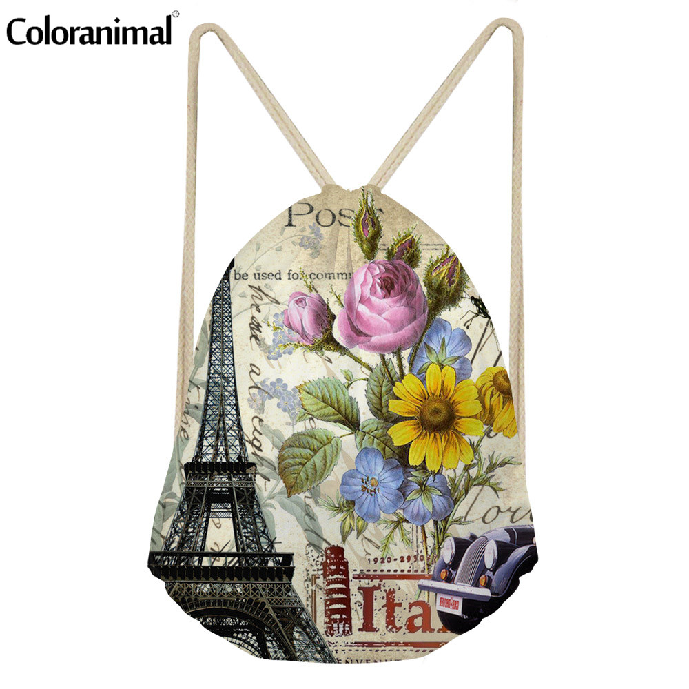 Coloranimal Eiffel Tower Print String Backpack Sack For Women Casual Softback Ladies Drawstring Bag Teen Girl Shoes Shoulder Bag