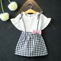 Hello Bobo Girls Clothes 2017 Brand Girls Clothing Sets Kids Clothes Bowknot Pattern Toddler Girl Tops+Skirt 2PCS Suit