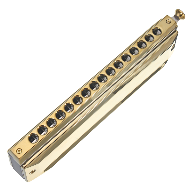 Swan High-end Chromatic Harmonica 16 Holes 64 Tones Gold Laser Proceeded Woodwind Musical Instrument Swan Harmonica SW1664-3