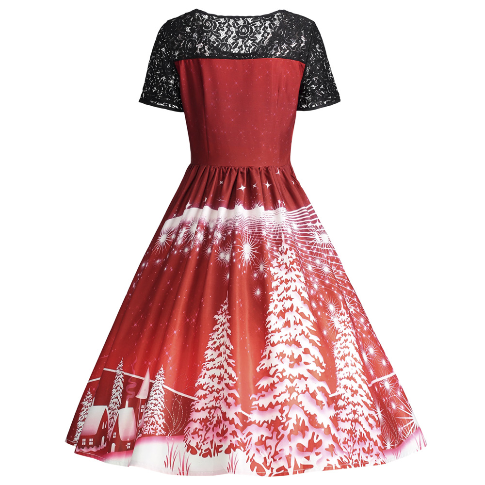 0c59489ecb1 Elegant and vintage Christmas dress crafts from delicate lace trim  detailing. Femme fit and flare silhouette is suitable for Christmas party.