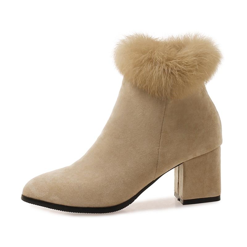 Épais De noir Éclair Misakinsa Fermeture Beige Chaud Dames Talon Bottes 33 Fourrure Mode Femmes 43 Bureau Chaussures Taille Courtes D'hiver Cheville tqPR48qw