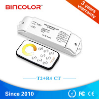 Dc 12ボルト24ボルト定電圧色温度ledコントローラ、rfラウンドセンサーリモートコントロールled cct調光