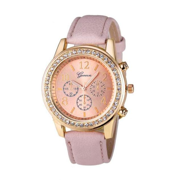 2018 new Fashion Women watches ladies Roman Rhinestone Quartz Leather Band Watch