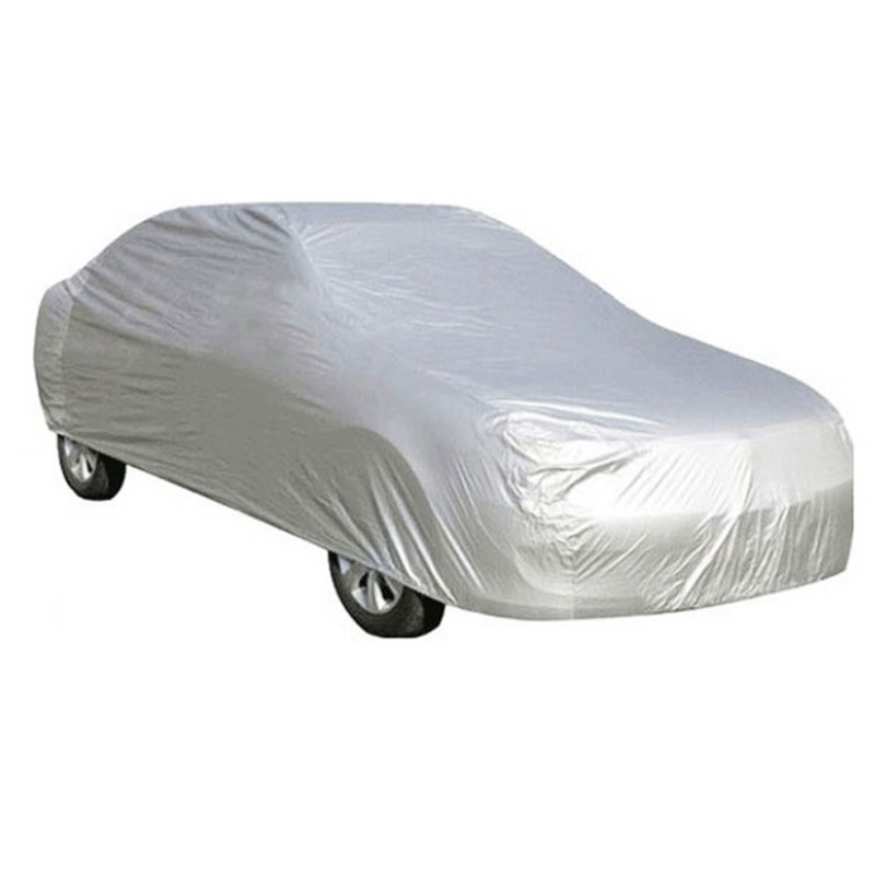 1Pcs Universal Full Car Covers Snow Ice Dust Sun UV Shade Cover Car Outdoor Protector Cover Foldable Light Silver Size S-XXL