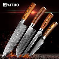 XITUO 4PCS 3.5578 inch Kitchen Knife Set Damascus Blade Pakka Wood Kitchen Chef Knife Sets Utility Bread Cooking Tools