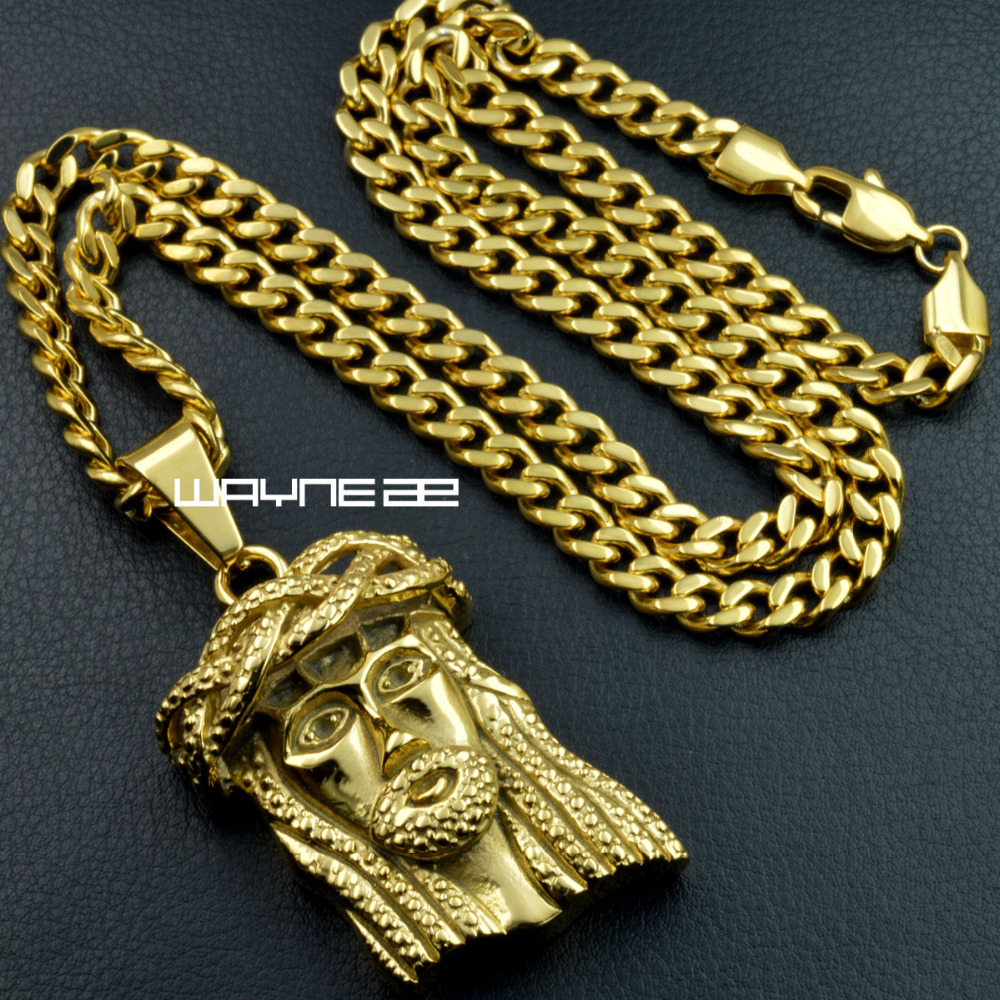 New fashion Gold Tone stainless steeel men and women Jesus pendant necklace n330b