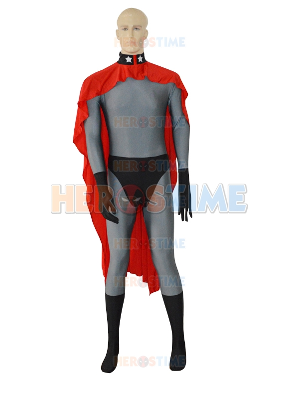 (SUP113) Red Son Superman Grey Superhero Costume Cosplay Zentai Dress Halloween Party Costume With Cape