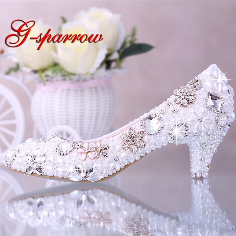 Luxurious Elegant Imitation Pearl Wedding Dress Bridal Shoes Crystal diamond Middle Heel shoes Woman Lady Dress