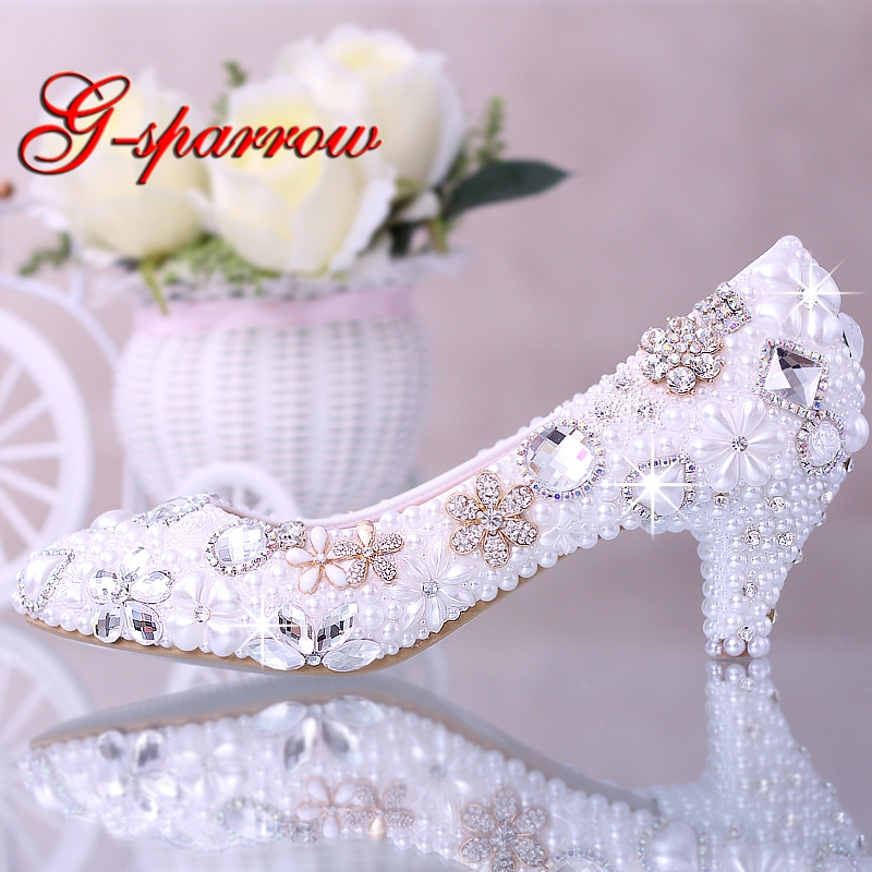 Luxurious Elegant Imitation Pearl Wedding Dress Bridal Shoes Crystal diamond Middle Heel shoes Woman Lady Dress Shoes White 2016 handmade fashion 5cm heel height bridal shoes lady dress shoes wedding shoes pearl low heel size 34 to 40 women shoes