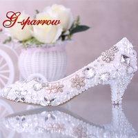 Luxurious Elegant Imitation Pearl Wedding Dress Bridal Shoes Crystal diamond Middle Heel shoes Woman Lady Dress Shoes White
