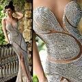 2017 Rami Salamoun Vestidos de Noche de Lujo de la Joyería Rhinestone Sin Respaldo Sweetheart Corset Sirena Piso-Longitud Vestido de Fiesta