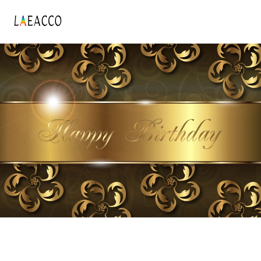 Laeacco Golden Bling Ribbon Backdrop Birthday Party Photography Background Customized Photographic Backdrops For Photo Studio
