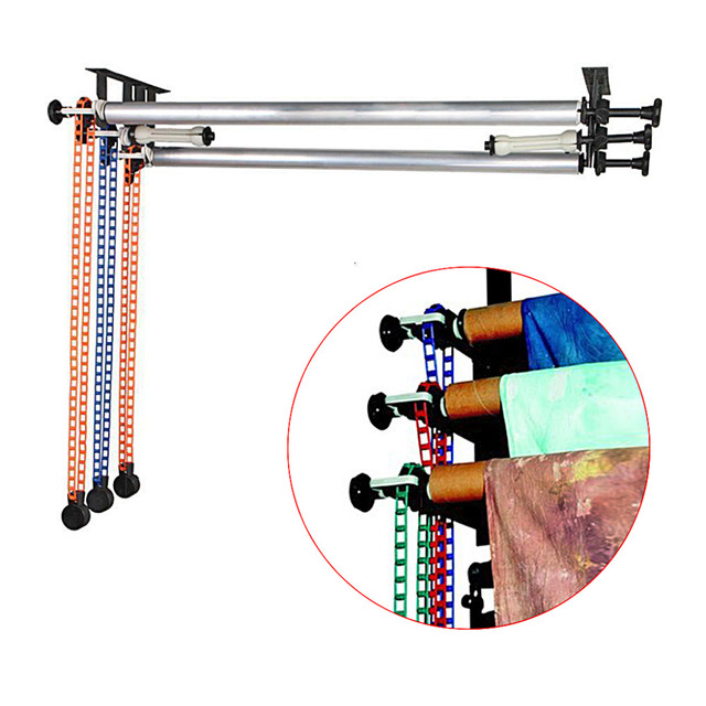 Neewer 3/4 Roller Wall Mounting Manual Background Support System for Studio Photography:Tri-fold hooks+Expand bars+Chains