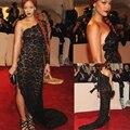 Сексуальный одно плечо иллюзия черное кружево русалка боковыми разрезами с длинным рукавом Beyonce вечер / знаменитости платье 2014 красный ковер