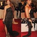 Sexy ilusión de un hombro negro encaje sirena raja del lado de manga larga Beyonce noche / celebridad 2014 Red Carpet