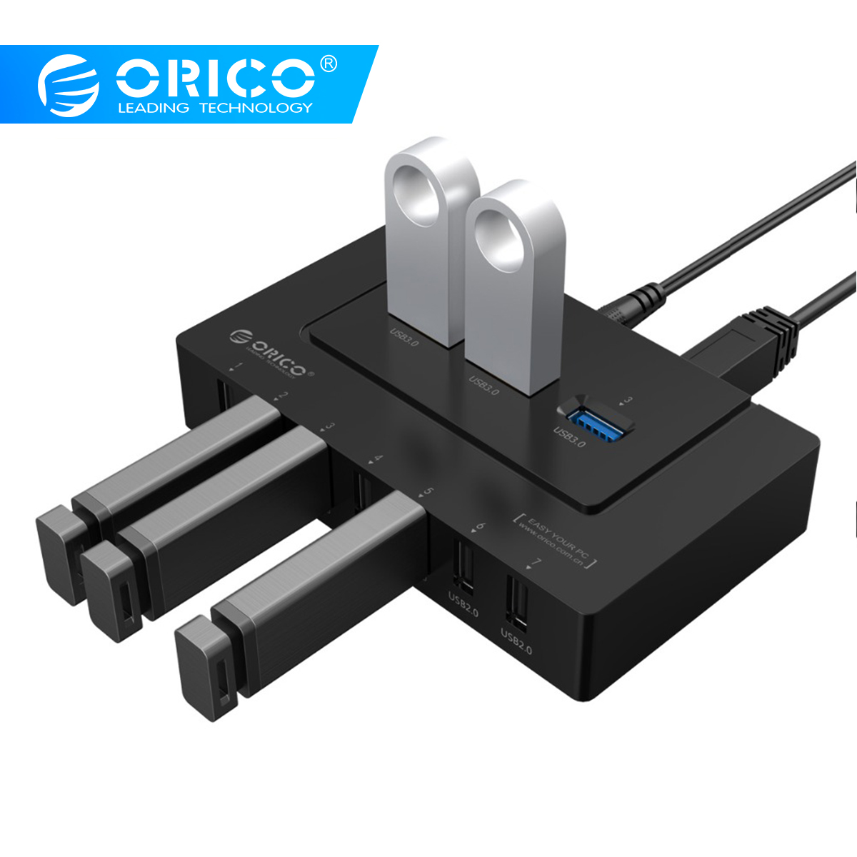 ORICO USB 2.0/3.0 HUB 10 Ports USB HUB 5Gbps Power Adapter High Speed  Splitter Adapter For PC LaptopNotebook-Black(H9910-U3)