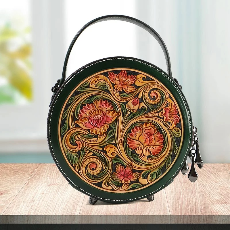 China Style Hand Engraved Lady Small Circular Handbag Genuine Cow Leather Carved Female Flower Shoulder Bag Women Crossbody Bag-in Shoulder Bags from Luggage & Bags    2