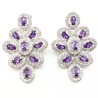 Aisure Zircons many Colors Option Luxury Cubic Zirconia Women Long Big Colorful Earring With purple Crystal