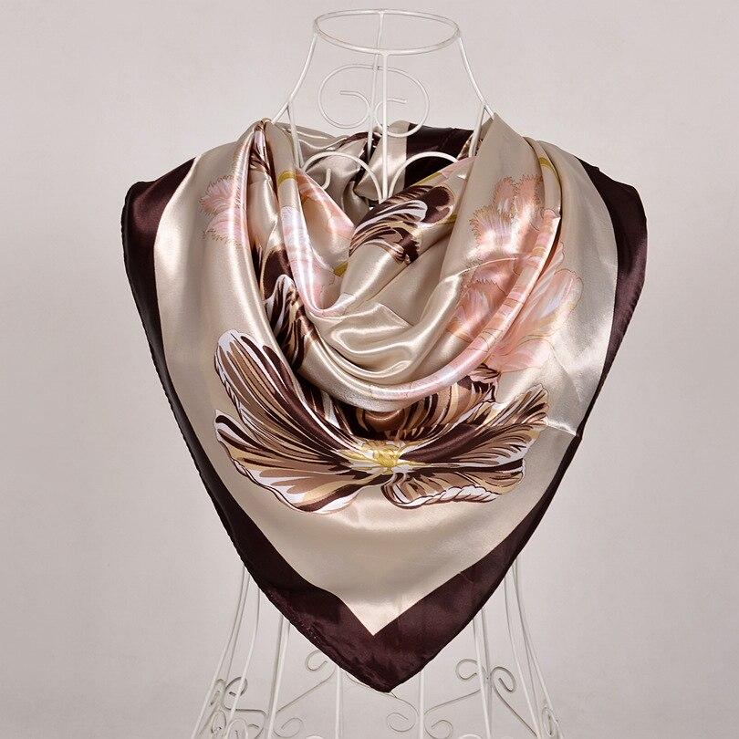 Дизайн женский Шелковый большой квадратный шелковый шарф из полиэстера, 90*90 см горячая Распродажа атласный шарф с принтом для весны, лета, осени, зимы - Цвет: coffee 563