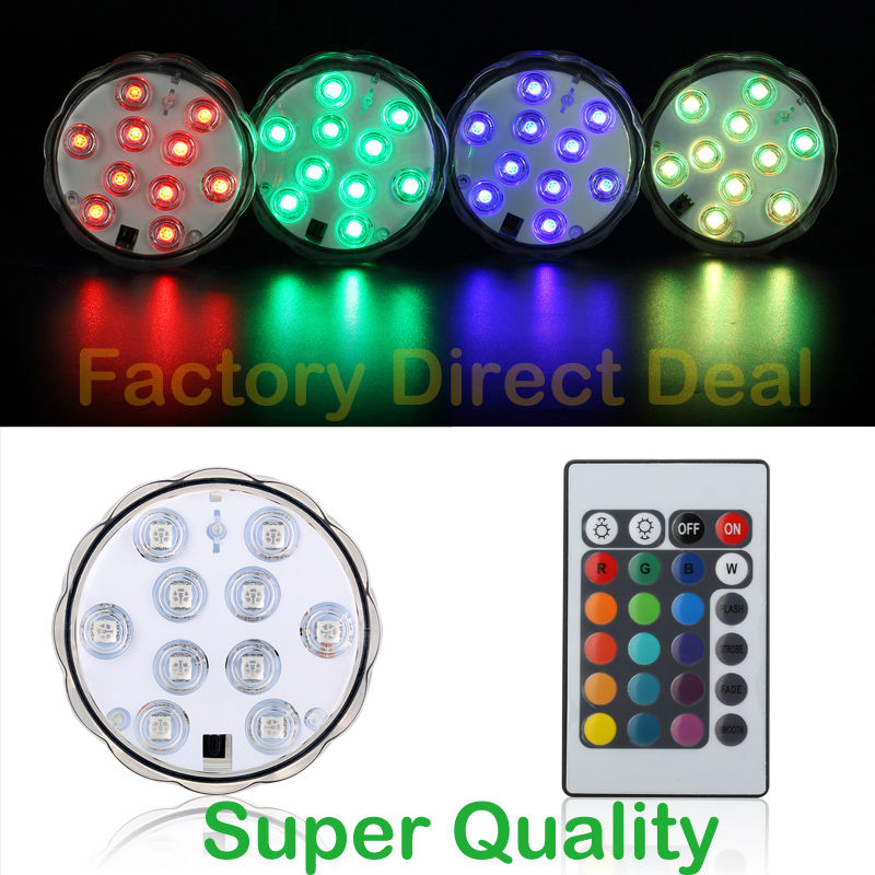 Kitosun Waterproof LED Light Underwater Light 10Leds RGB Swimming Pool Light Submersible LED Pool with 24Keys Remote Controller