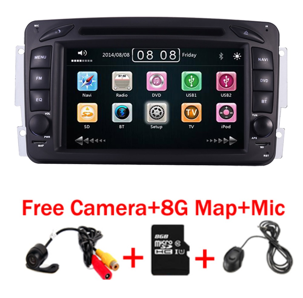 2din 7 inch CAR DVD PLAYER For Mercedes Benz W209 W203 W168 M ML W163 W463 Viano W639 Vito Vaneo 3g GPS BT Radio USB SD Free Map door mirror turn signal light for mercedes benz w636 w639 vito viano